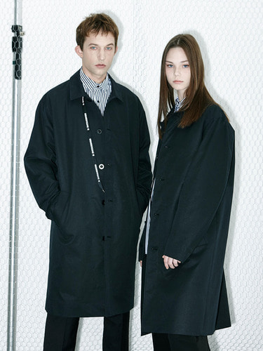 [봄 아우터 50% SALE] Oversize Tape Single Coat (BK)