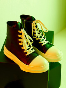 [D.GNAK][발매기념10%세일]Front Lace-Up Leather High Top (BK)