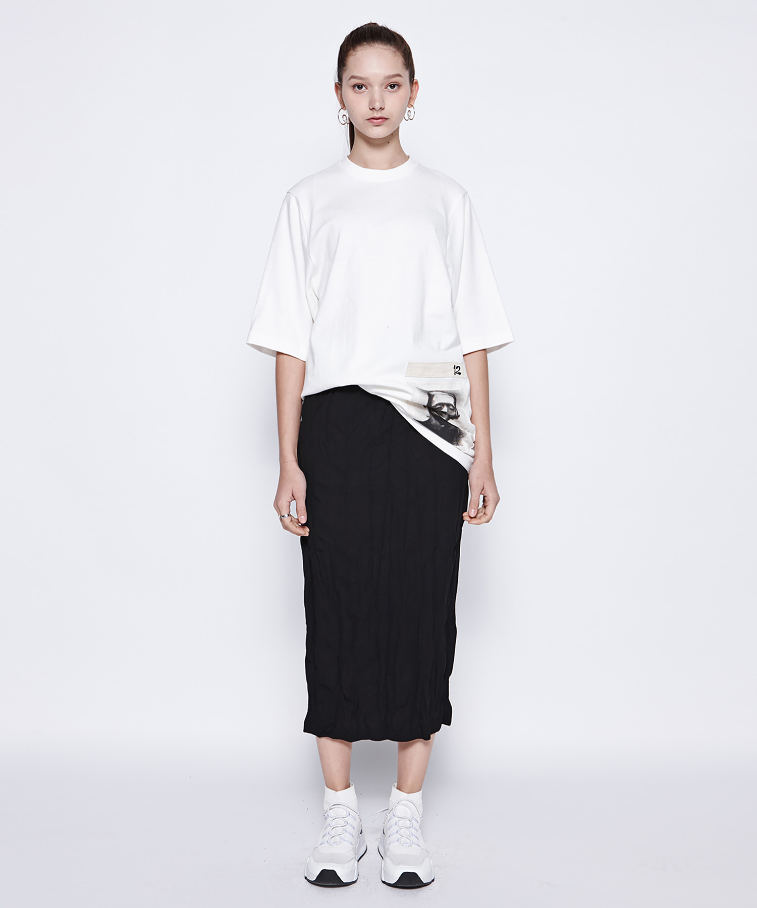 [DGNAK12,illi] Washing Pleats Long Skirt (BK)