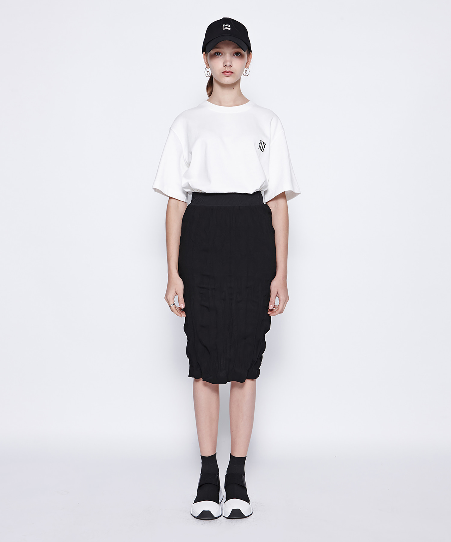 [DGNAK12,illi] Washing Pleats Midi Skirt (BK)