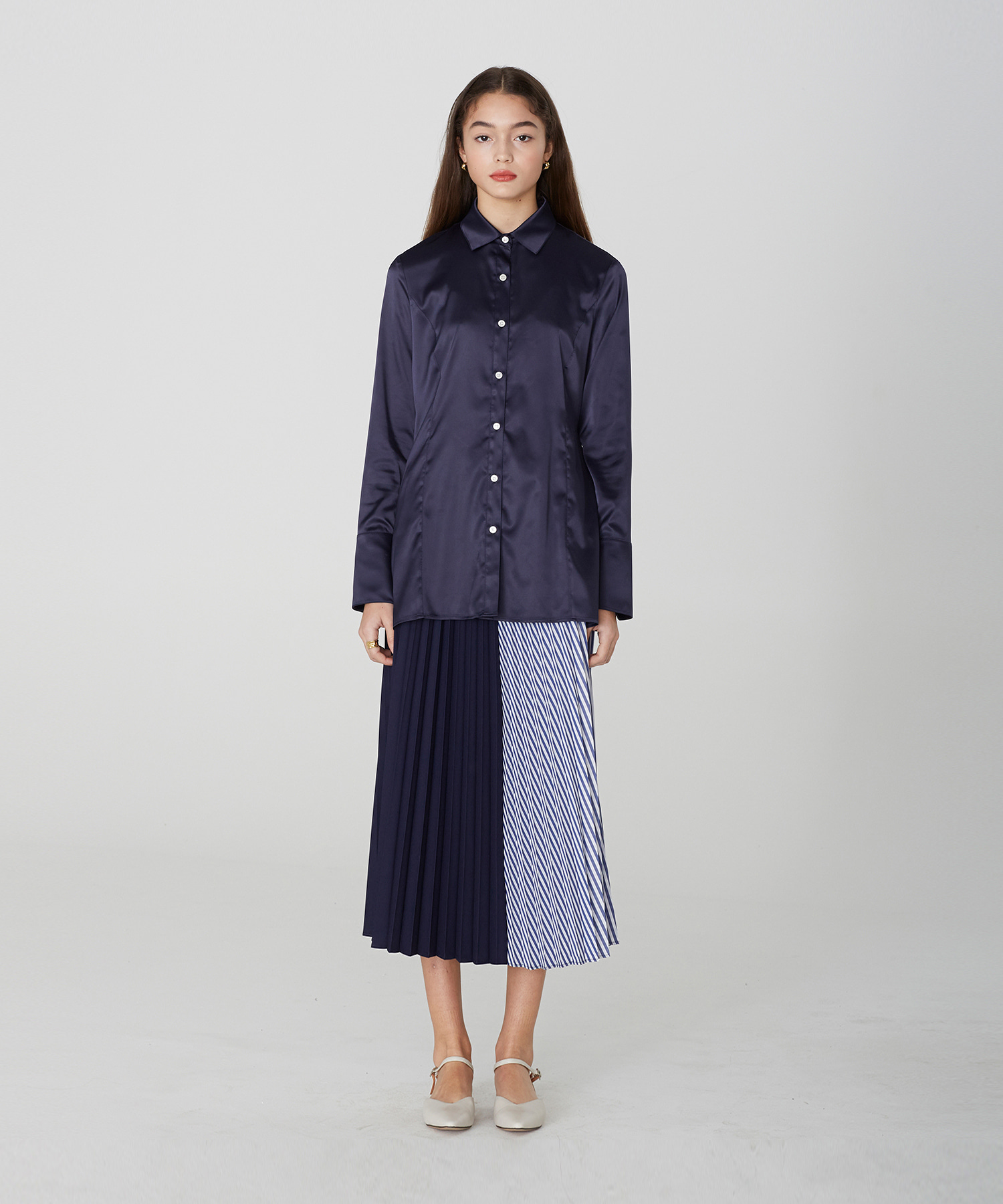 [19S/S] Stripe Pleated Long Skirt (NA)