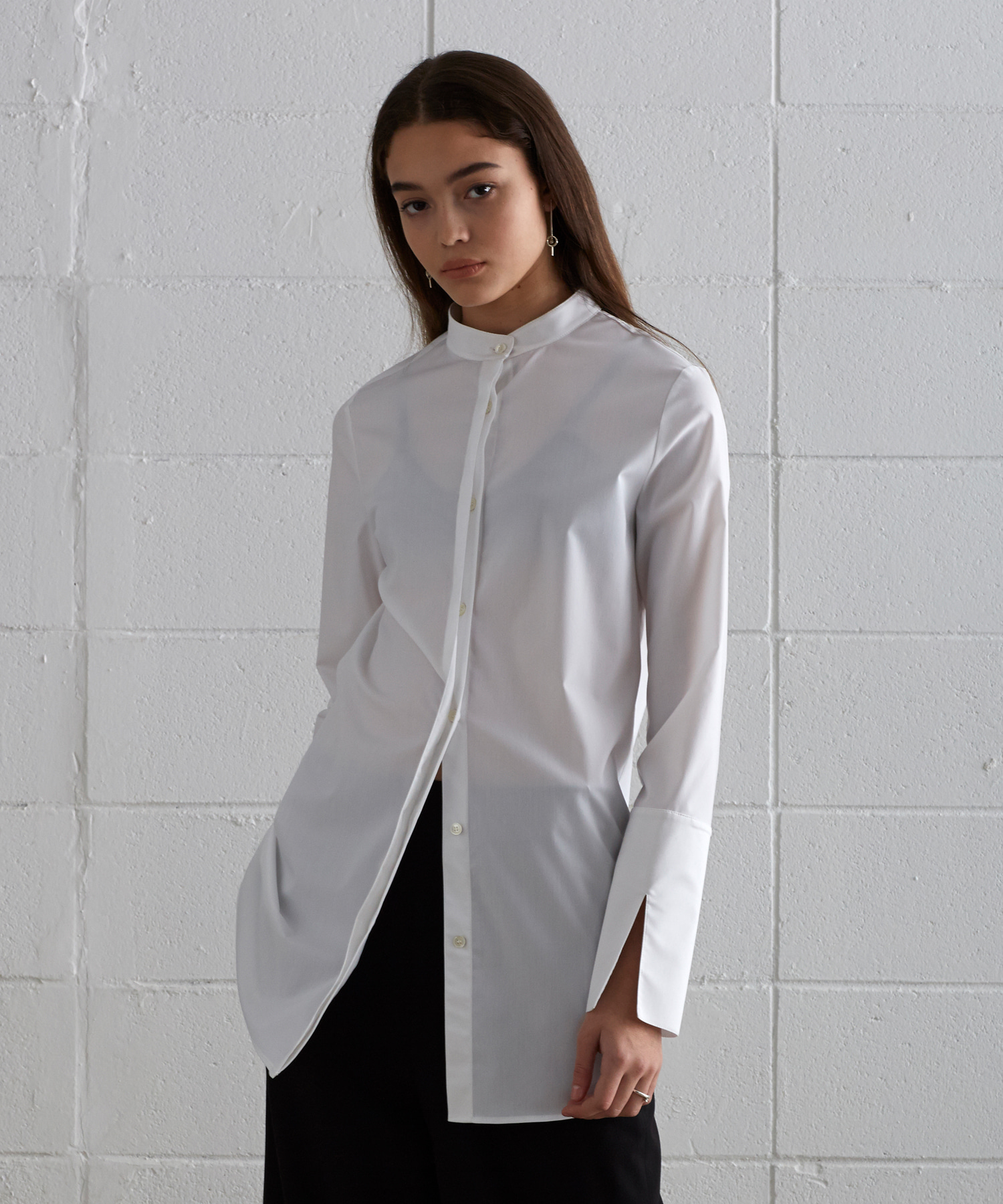 [19S/S] China Collar Long Shirts (WH)