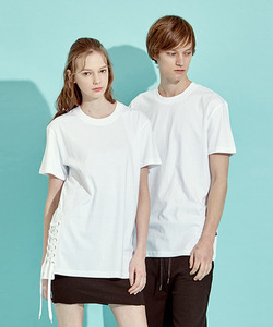 [BF 40%세일]Side Lace-Up T-Shirts (WH)