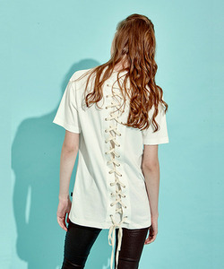 [OULET 50% 세일]Back Lace-Up T-Shirts (WH)